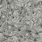 Seamless hand-drawn waves texture.Copy that square to the side a Stock Photos