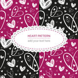 Seamless hand drawn white heart texture on pink and black backgr. Vector seamless hand drawn white heart texture on pink and black background with label, textile Stock Images