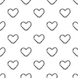 Seamless hand drawwn heart shape pattern on white Royalty Free Stock Images