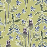 Seamless hand illustrated floral pattern stock illustration