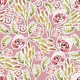 Seamless hand illustrated floral pattern. stock illustration