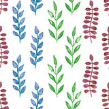 Seamless hand painted green herb pattern Stock Photo