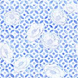 Moroccan poppies seamless tile - indigo blue watercolor stock illustration