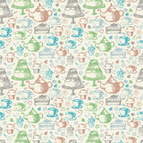 Seamless hand  pattern for tea time theme.  Stock Image