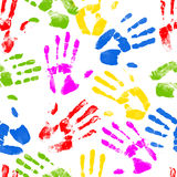 Seamless hand prints background. Repeating colourful hand print design Stock Photos