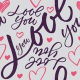Seamless hand-written Love you pattern Royalty Free Stock Photo