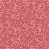 Seamless hand written pattern for tea  theme. With tea, cup, Stock Photography