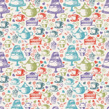 Seamless hand written pattern for tea  theme. With tea, cup, Stock Image