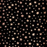 Seamless Handdrawn stars copper foil on black vector background. Pattern for Christmas and celebrations. Hand drawn rose gold royalty free illustration
