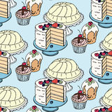 Seamless handdrawn vector pattern. Cakes and Stock Photography