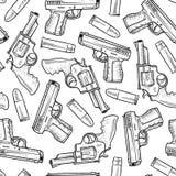 Seamless handgun vector background. Doodle style seamless handgun background designed to be tiled. Vector format stock illustration