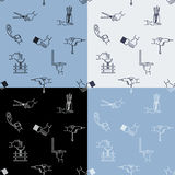 Seamless handicraft pattern with tools elements and hands. Stock Image