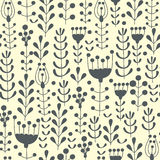 Seamless hands drawn spring pattern with grass and flowers Royalty Free Stock Photos