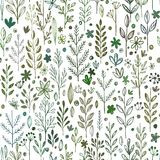 Seamless hands drawn spring pattern with grass and. Flowers. Vector illustration EPS10 Stock Illustration