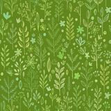 Seamless hands drawn spring pattern with grass and Royalty Free Stock Image