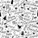 Seamless handwritten pattern with christmas phrase Royalty Free Stock Images