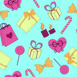 Seamless Happy birthday elements colorful pattern. Happy birthday elements color pattern on blue background Stock Images