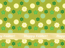 Seamless Happy Easter pattern. With flowers Royalty Free Stock Image