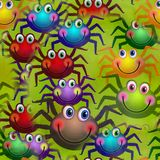 Seamless Happy Spider Textile Paper. A cheerful kids seamless background design with colorful happy spiders Stock Image