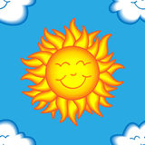 Seamless happy sun and cloud pattern Royalty Free Stock Images