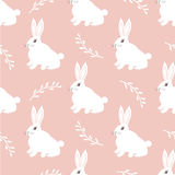 Seamless hare pattern. Cute little Bunny on a pink background. Cute rabbit  design for fabric and decor Stock Photography