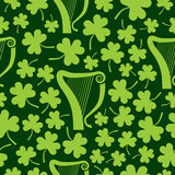 Seamless Harp and Shamrocks Royalty Free Stock Photo