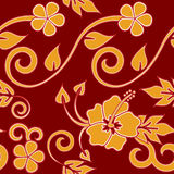 Seamless Hawaiian - Red. Seamless hawaiian floral pattern, red version Stock Photos