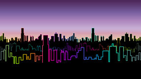 Seamless header of the city at night with versicolor neon color. Vivid glow of the contours of skyscrapers. Royalty Free Stock Photo