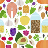 Seamless healthy food pattern Stock Images