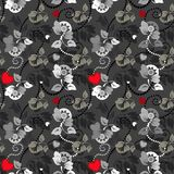 Seamless Heart And Flower Pattern Royalty Free Stock Images