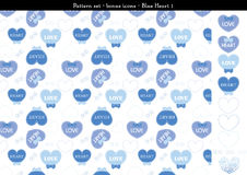 Seamless heart backgrond in blue color theme with bonus icons - 1. A seamless heart background in blue color theme. It comes a set with extra bonus heart icons Royalty Free Stock Photo