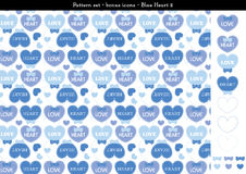 Seamless heart backgrond in blue color theme with bonus icons - 2. A seamless heart background in blue color theme. It comes a set with extra bonus heart icons Stock Photography