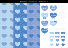 Seamless heart backgrond in blue color theme with bonus icons - 10. A seamless heart background in blue color theme. It comes a set with extra bonus heart icons Royalty Free Stock Photography