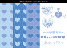 Seamless heart backgrond in blue color theme with bonus icons - 12. A seamless heart background in blue color theme. It comes a set with extra bonus heart icons Stock Photography