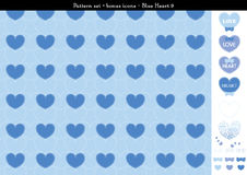 Seamless heart backgrond in blue color theme with bonus icons - 9. A seamless heart background in blue color theme. It comes a set with extra bonus heart icons Stock Photo