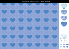 Seamless heart backgrond in blue color theme with bonus icons - 8. A seamless heart background in blue color theme. It comes a set with extra bonus heart icons Royalty Free Stock Photography