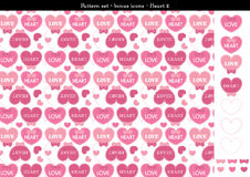 Seamless heart backgrond in rose pink color theme with bonus icons - 2. A seamless heart background in rose pink color theme. It comes a set with extra bonus Royalty Free Stock Photography