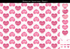 Seamless heart backgrond in rose pink color theme with bonus icons - 5. A seamless heart background in rose pink color theme. It comes a set with extra bonus Stock Photos