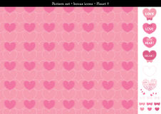 Seamless heart backgrond in rose pink color theme with bonus icons - 7. A seamless heart background in rose pink color theme. It comes a set with extra bonus Stock Images