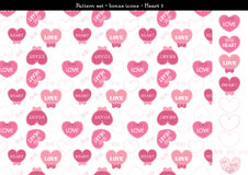 Seamless heart backgrond in rose pink color theme with bonus icons - 1. A seamless heart background in rose pink color theme. It comes a set with extra bonus Royalty Free Stock Photo