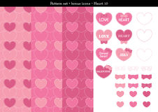 Seamless heart backgrond in rose pink color theme with bonus icons - 10. A seamless heart background in rose pink color theme. It comes a set with extra bonus Stock Images