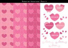 Seamless heart backgrond in rose pink color theme with bonus icons - 11. A seamless heart background in rose pink color theme. It comes a set with extra bonus Royalty Free Stock Photo
