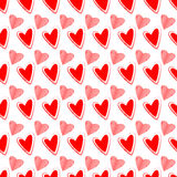 Seamless Heart Background Pink and Red. Vector Valentine`s Day hearts seamless pattern background with hand drawn elements Royalty Free Stock Photo