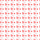 Seamless Heart Background. Vector Valentine`s Day hearts seamless pattern background with hand drawn elements Stock Photos