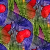 Seamless heart, balloon, blue, green light watercolor artist wal Stock Image