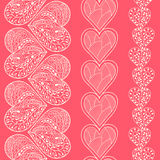 Seamless heart borders set. Seamless white heart borders set Stock Photos
