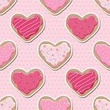 Seamless heart cookies Stock Photo