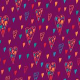 Seamless heart hattern for Valentines day. Endless background. Vector backdrop. Bright pattern Stock Photo