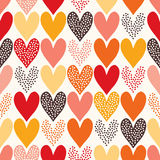 Seamless heart pattern. Seamless doodle dots heart pattern Stock Photos