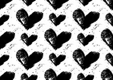 Seamless heart pattern. Hand painted hearts with rough edges. Royalty Free Stock Photography